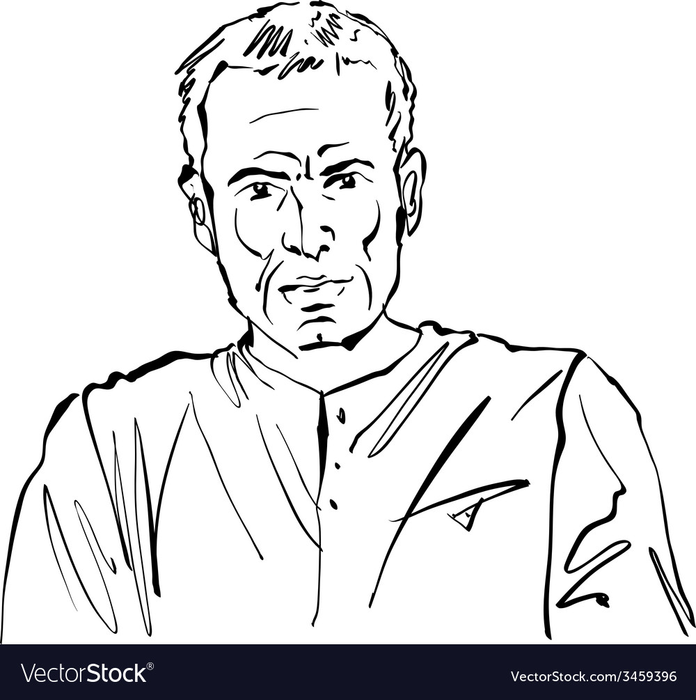 Hand drawn of a man on white background black and vector | Price: 1 Credit (USD $1)