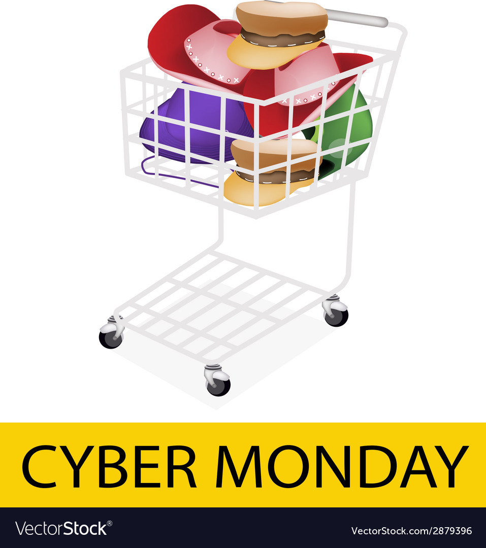 Hats and helmet in cyber monday shopping cart vector   Price: 1 Credit (USD $1)