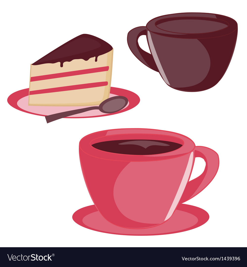 Isolated cup and cake set vector | Price: 1 Credit (USD $1)