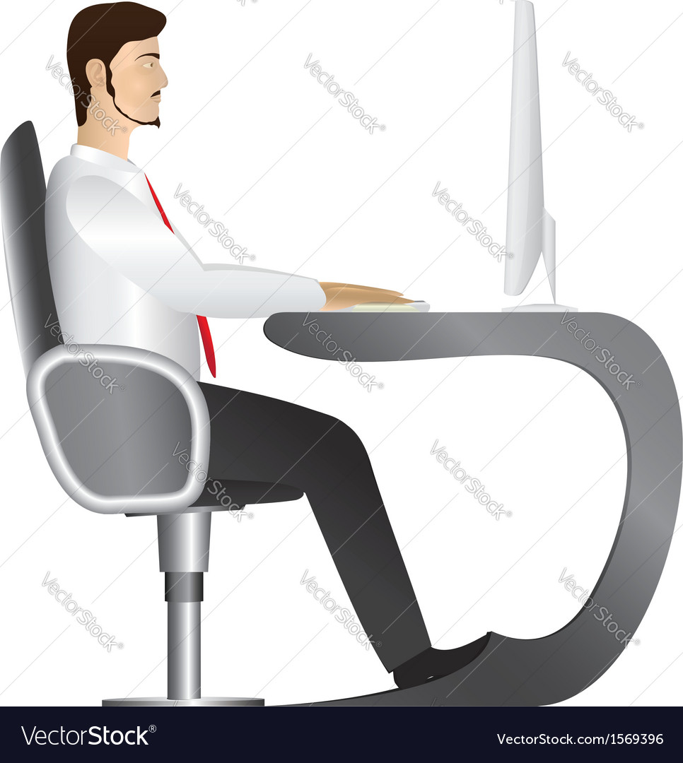 Man working at computer vector | Price: 1 Credit (USD $1)