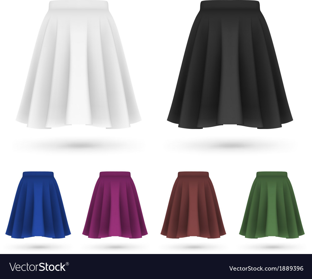 Pleated skirt template set vector | Price: 1 Credit (USD $1)