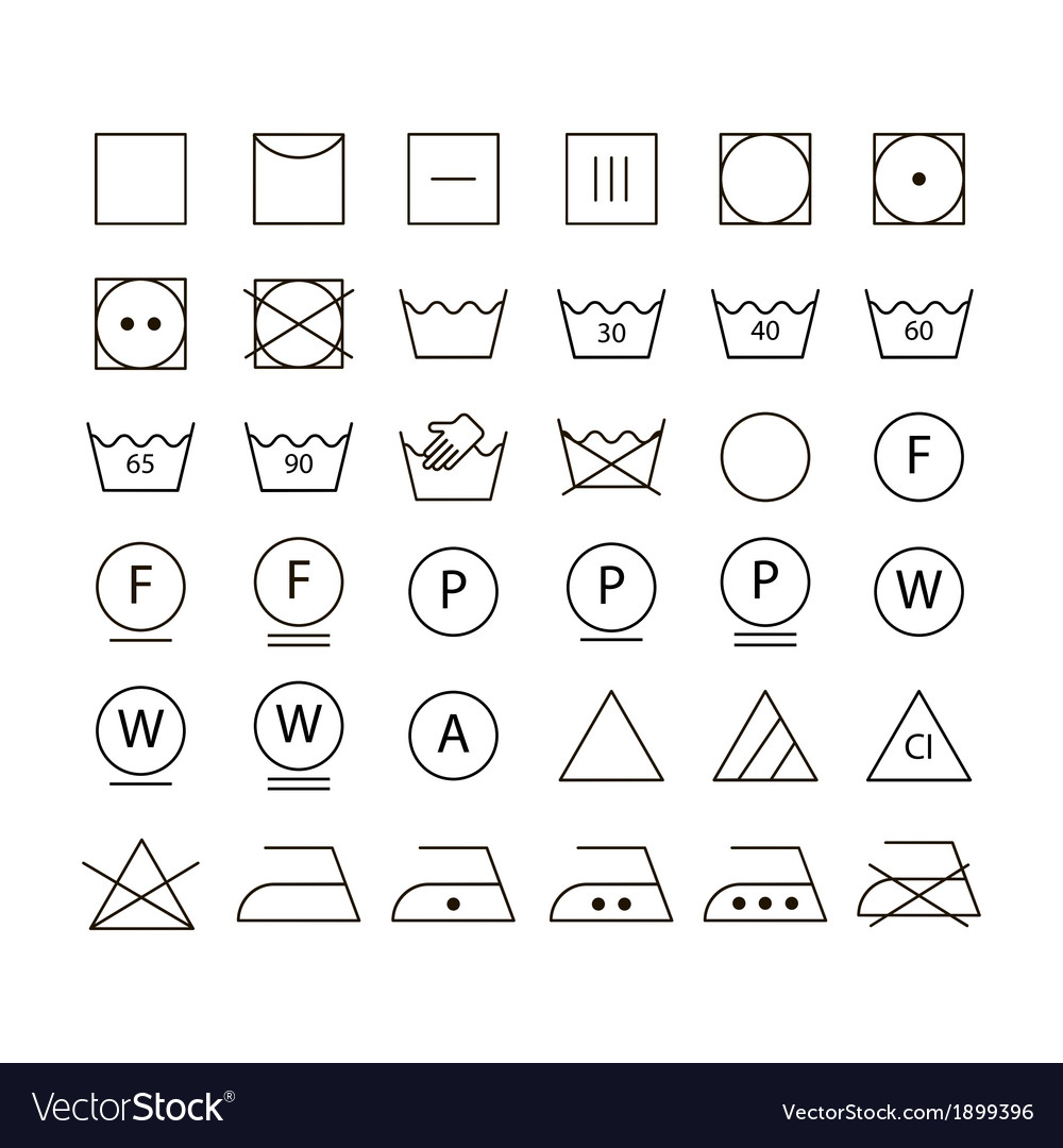 Set of washing symbols vector | Price: 1 Credit (USD $1)