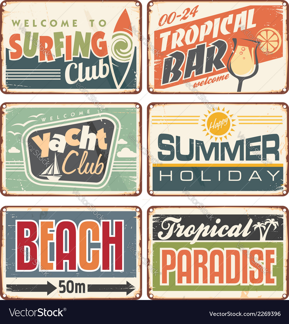Summer holiday vintage sign boards collection vector | Price: 1 Credit (USD $1)