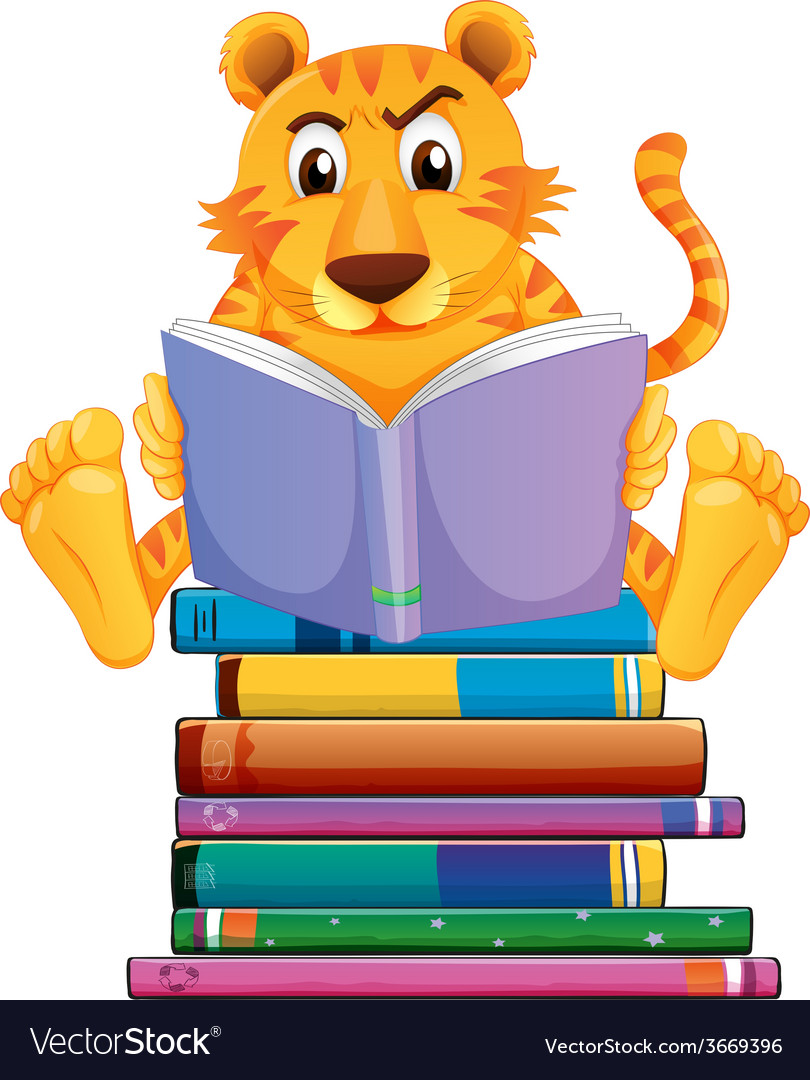 Tiger and books vector | Price: 3 Credit (USD $3)