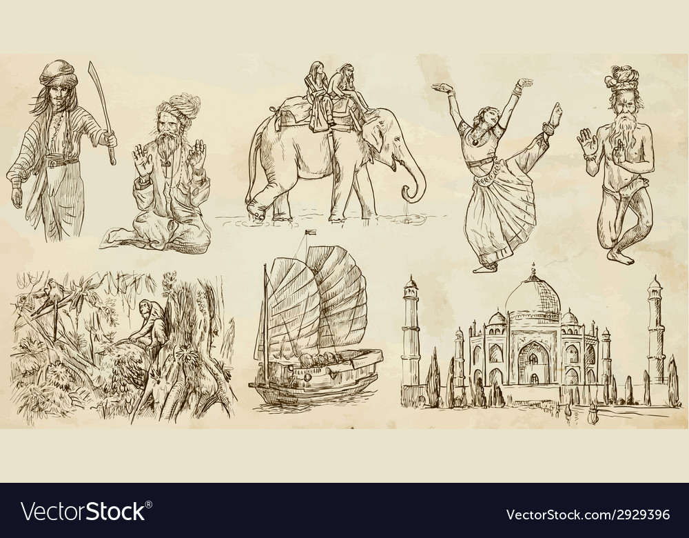 Traveling india - an hand drawn pack vector   Price: 1 Credit (USD $1)