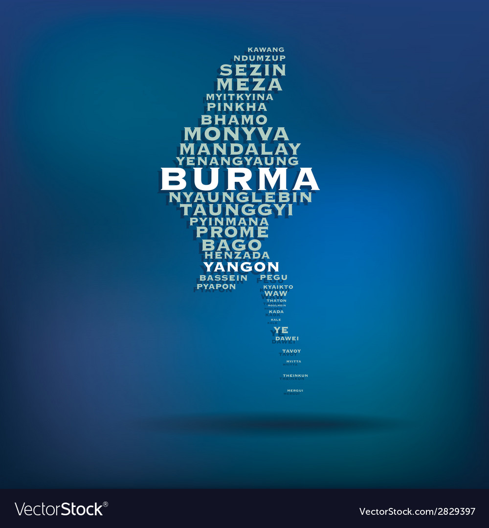 Burma map made with name of cities vector | Price: 1 Credit (USD $1)