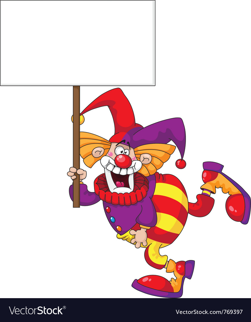 Clown holding a blank sign vector | Price: 3 Credit (USD $3)