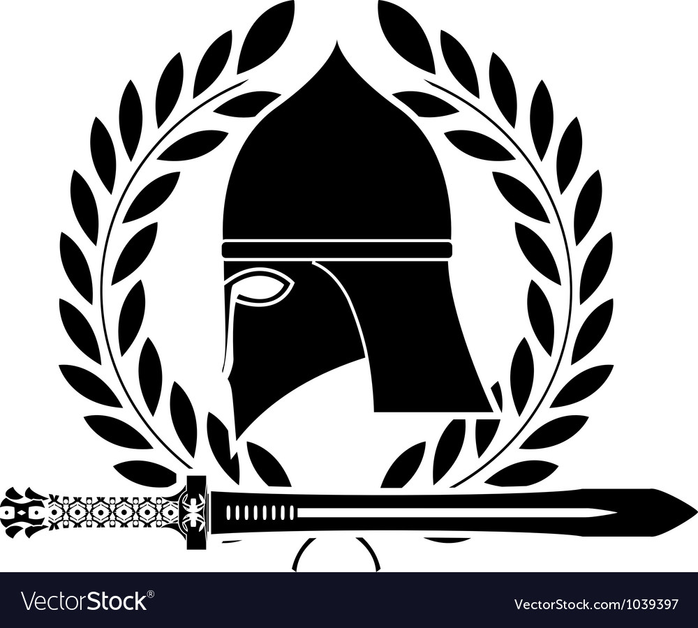 Fantasy barbarian sword and helmet vector | Price: 1 Credit (USD $1)