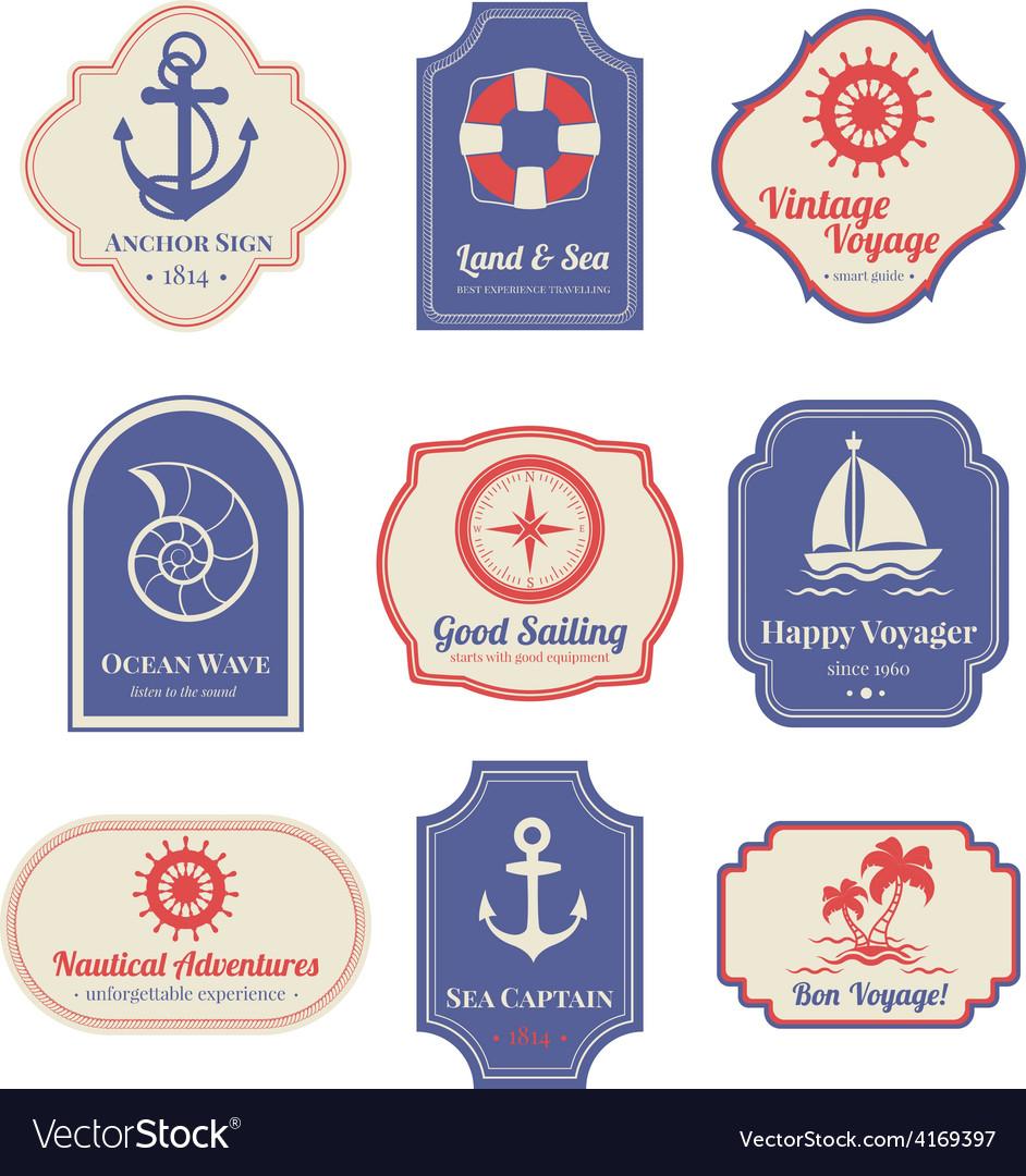 Nautical emblems set vector | Price: 1 Credit (USD $1)