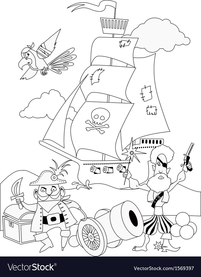 Pirates coloring page vector | Price: 1 Credit (USD $1)