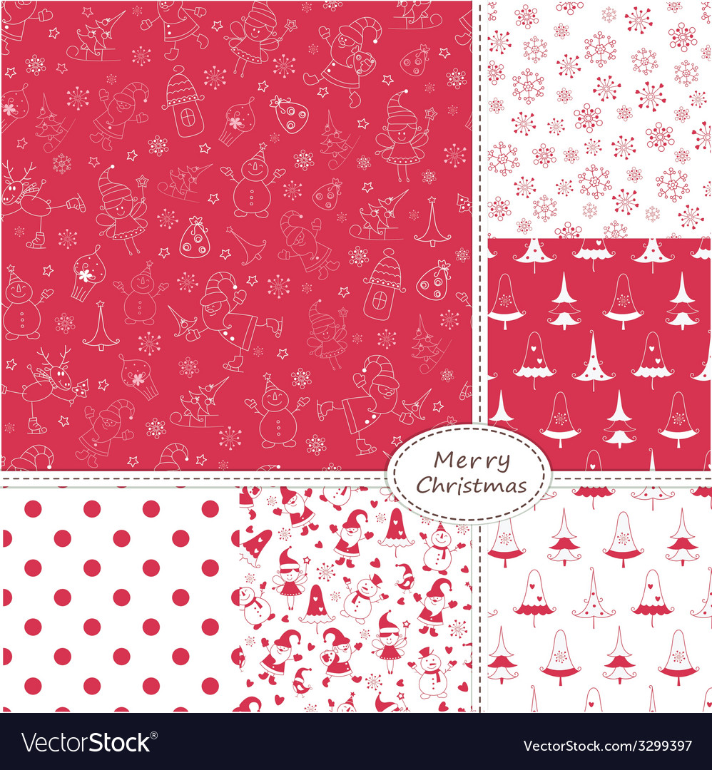 Set of christmas seamless patterns vector | Price: 1 Credit (USD $1)