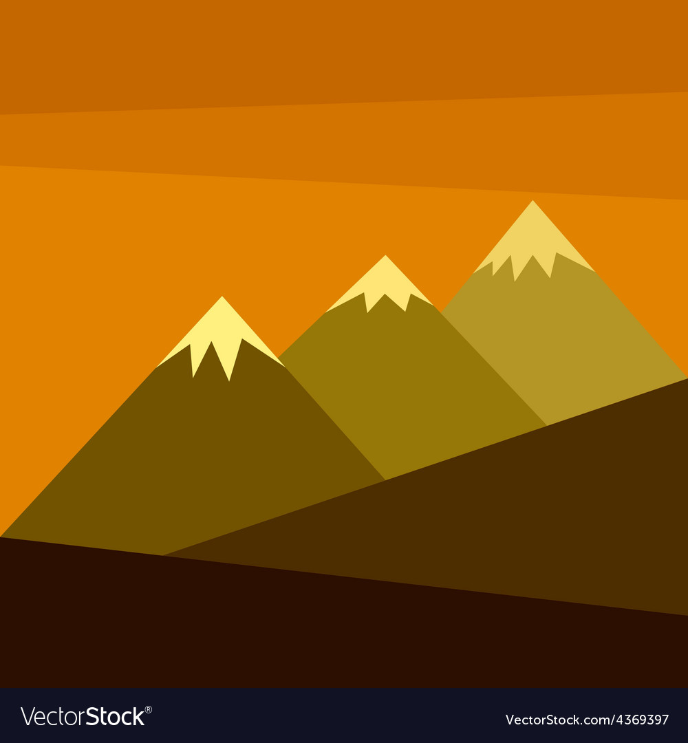 Three mountains with snow vector | Price: 1 Credit (USD $1)