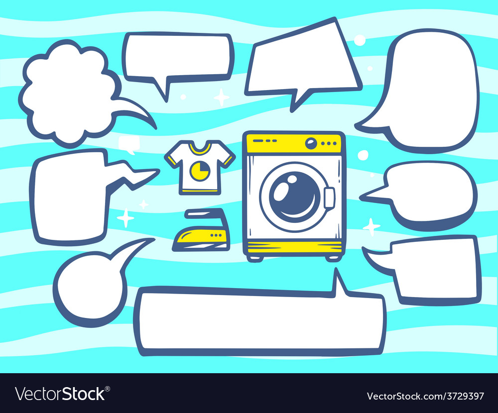 Washing machine with speech comics bubble vector | Price: 1 Credit (USD $1)