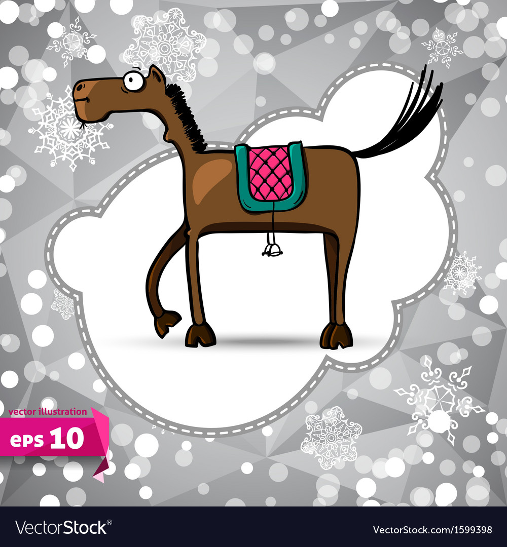 Cartoon horse symbol of 2014 winter backdrop vector | Price: 1 Credit (USD $1)
