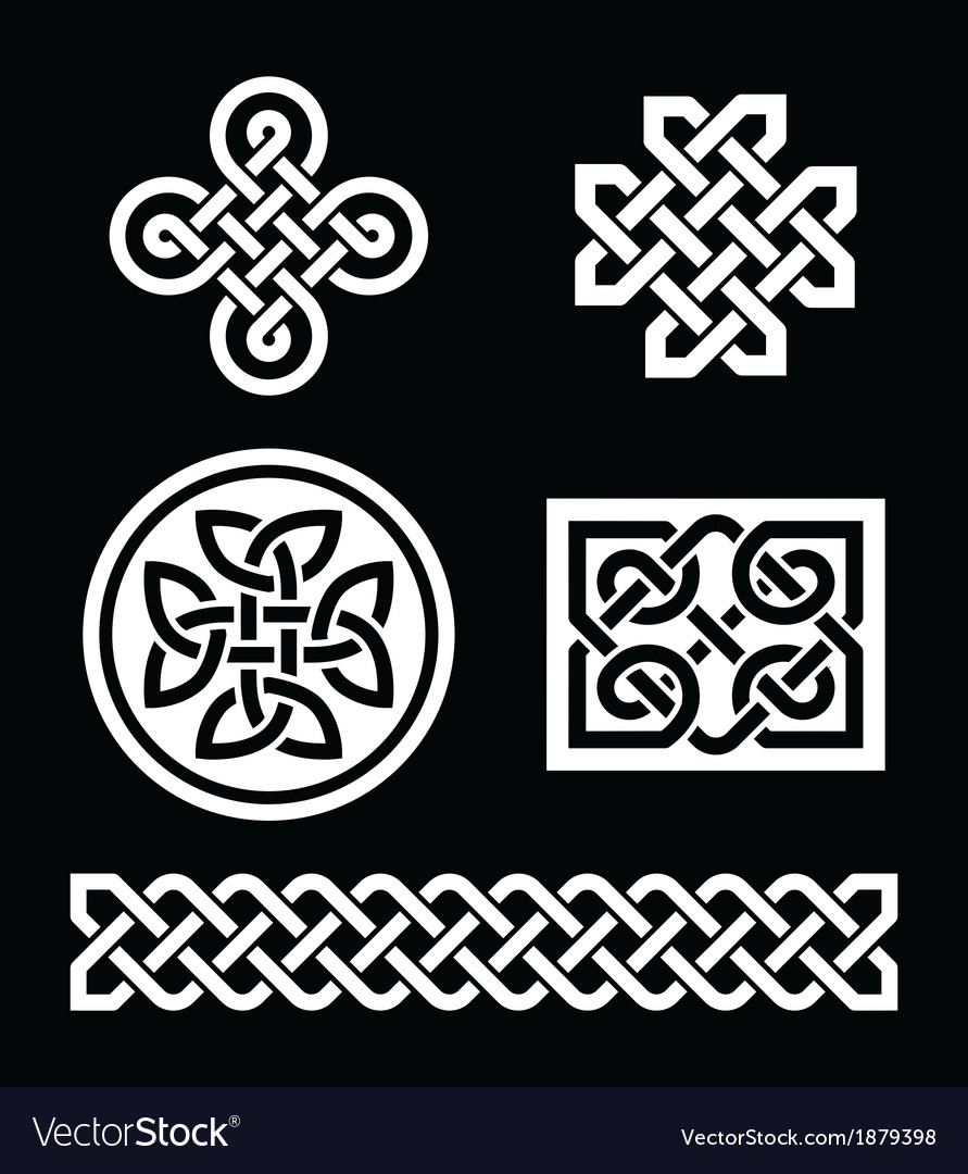 Celtic knots patterns on black background - vector | Price: 1 Credit (USD $1)