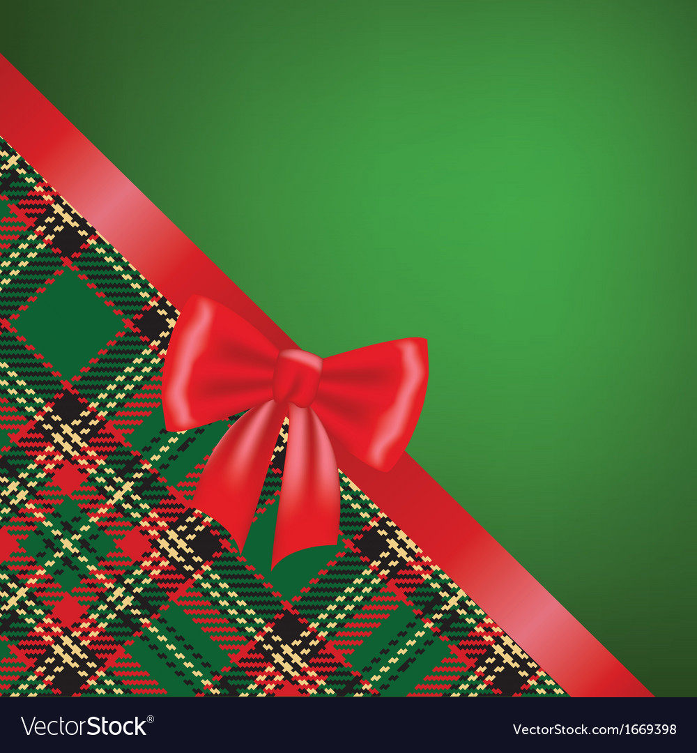 Christmas card with red ribbon bow and tartan vector   Price: 1 Credit (USD $1)