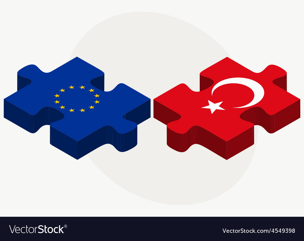 European union and turkey flags in puzzle vector | Price: 1 Credit (USD $1)