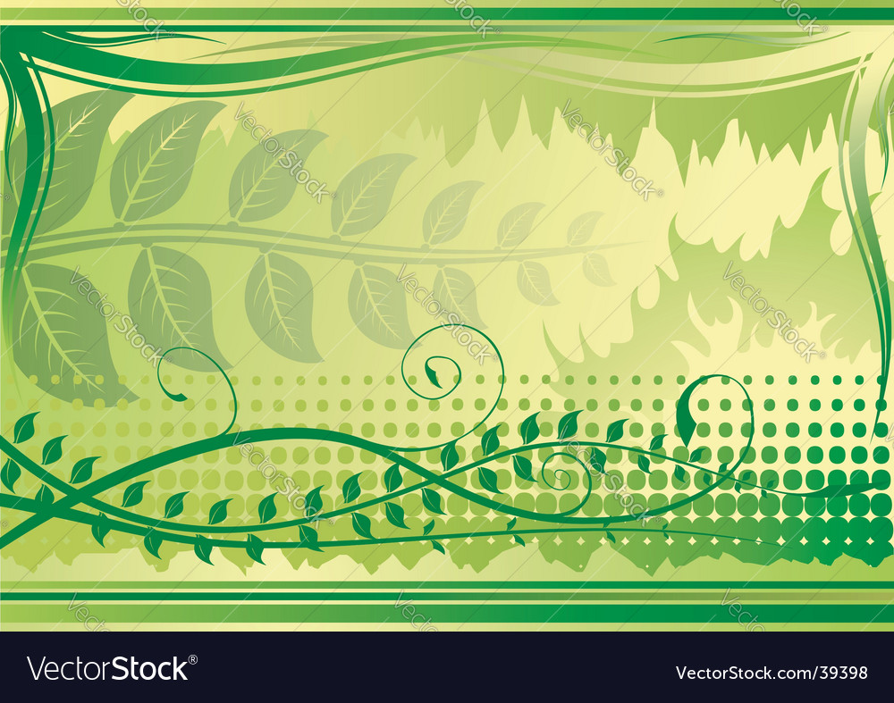 Floral background green horizontal vector | Price: 1 Credit (USD $1)