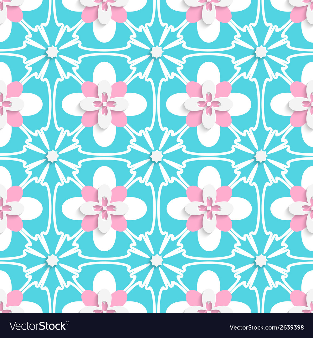 Floristic turquoise and pink tile ornament vector | Price: 1 Credit (USD $1)