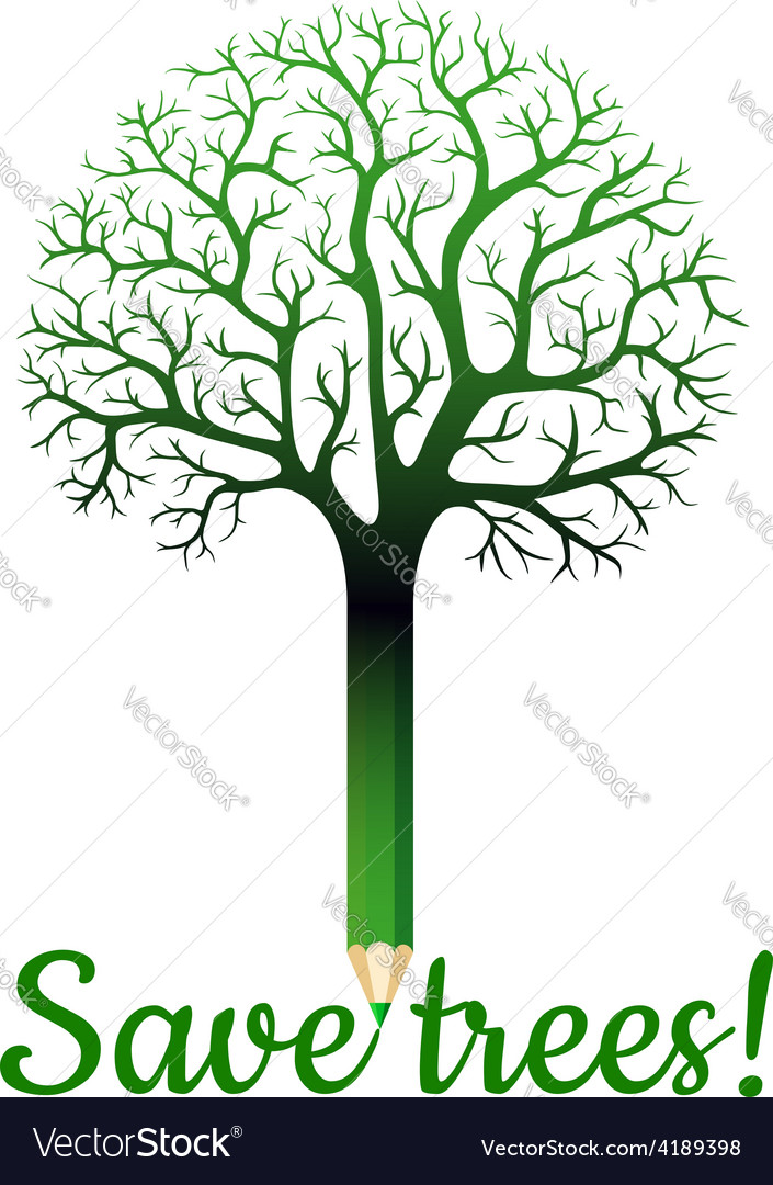 Green pencil with tree branches vector | Price: 1 Credit (USD $1)