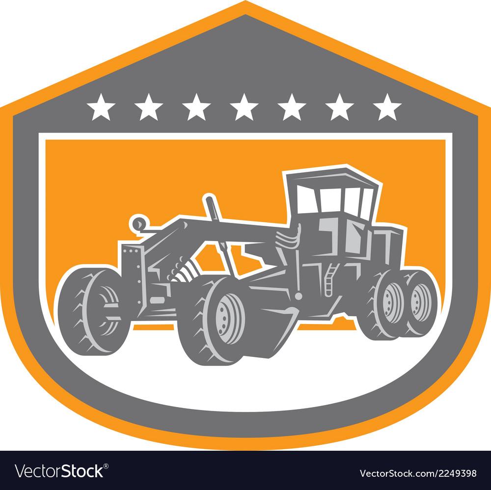 Road grader shield retro vector | Price: 1 Credit (USD $1)