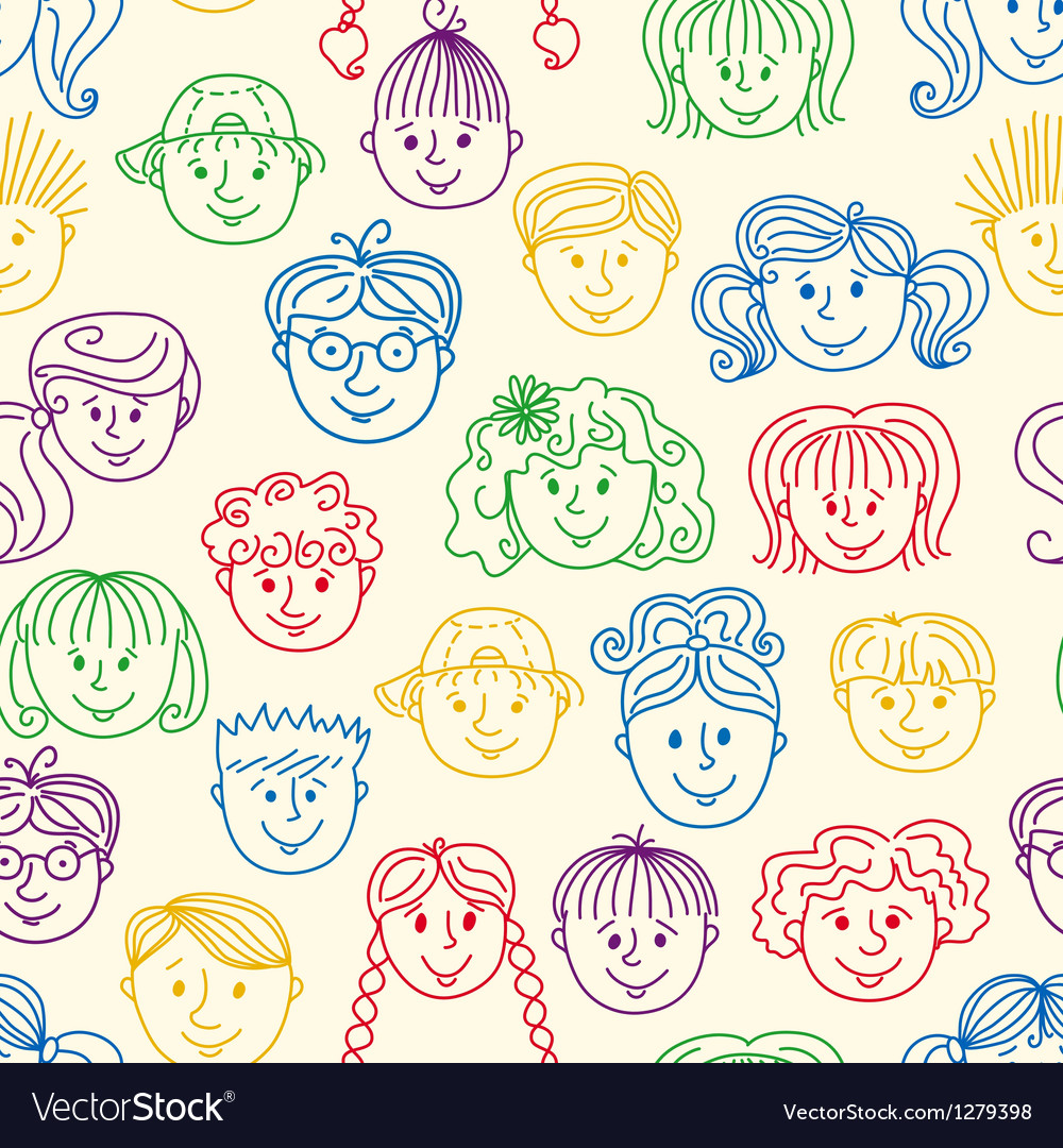 Seamles children faces pattern vector | Price: 1 Credit (USD $1)