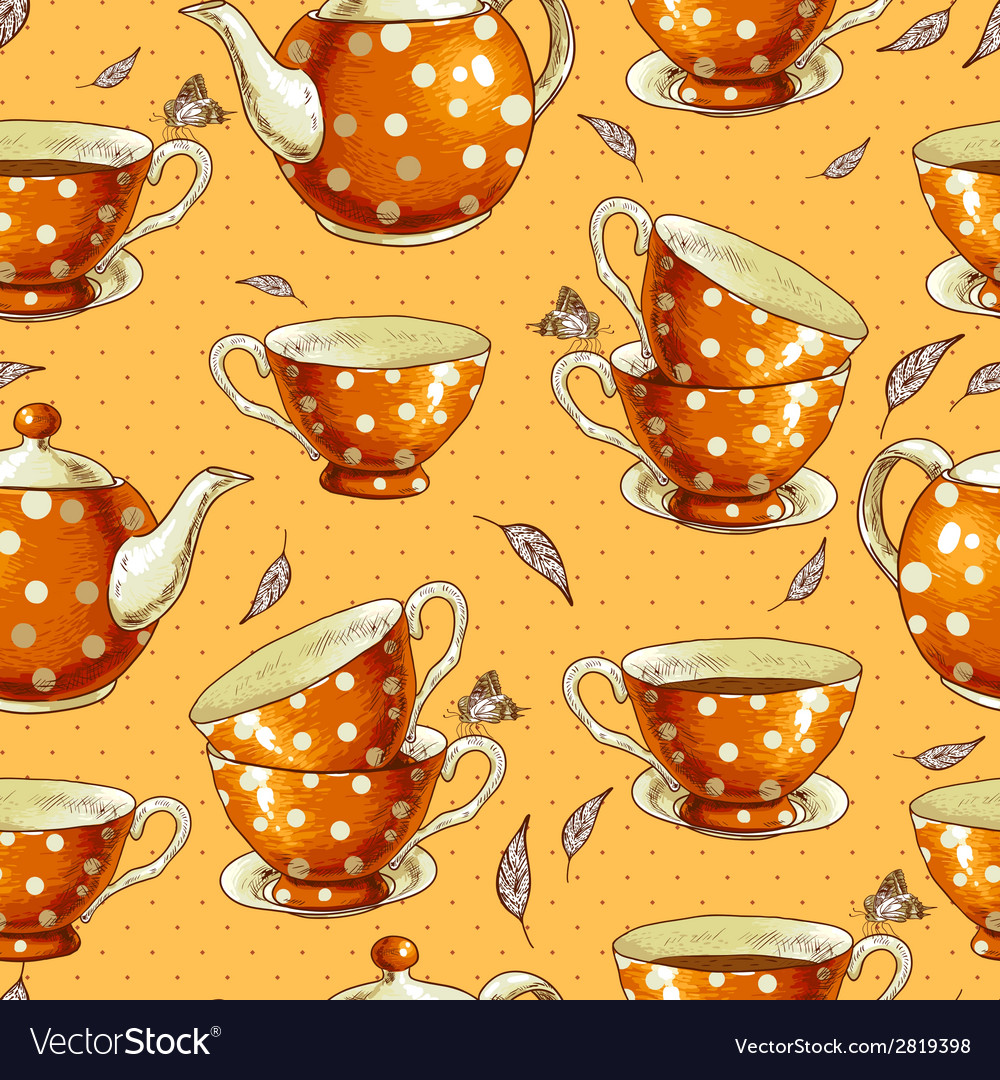 Seamless background with cups of tea and pots vector