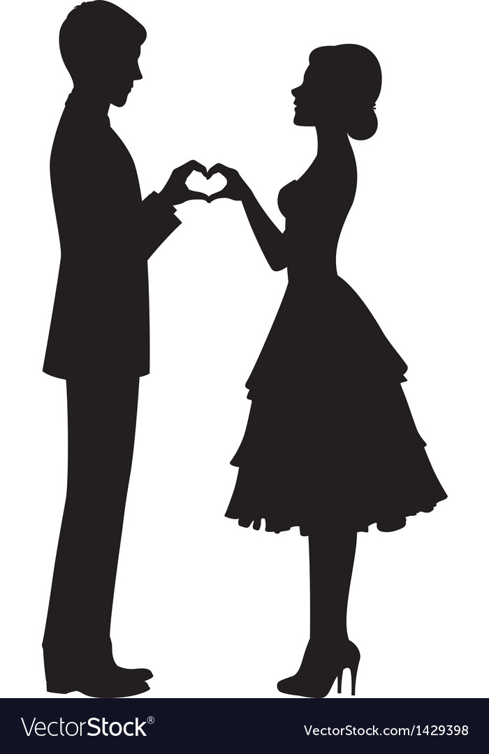 Silhouette of bride and groom vector | Price: 1 Credit (USD $1)