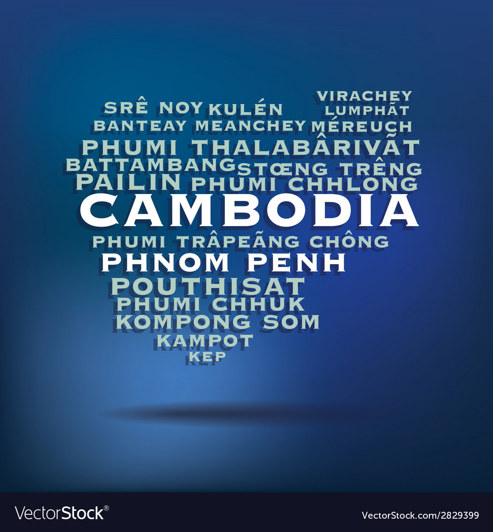 Cambodia map made with name of cities vector | Price: 1 Credit (USD $1)