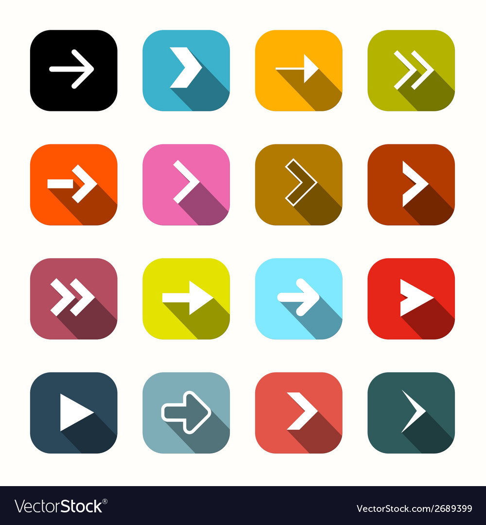 Colorful flat design arrows set in rounded squares vector | Price: 1 Credit (USD $1)