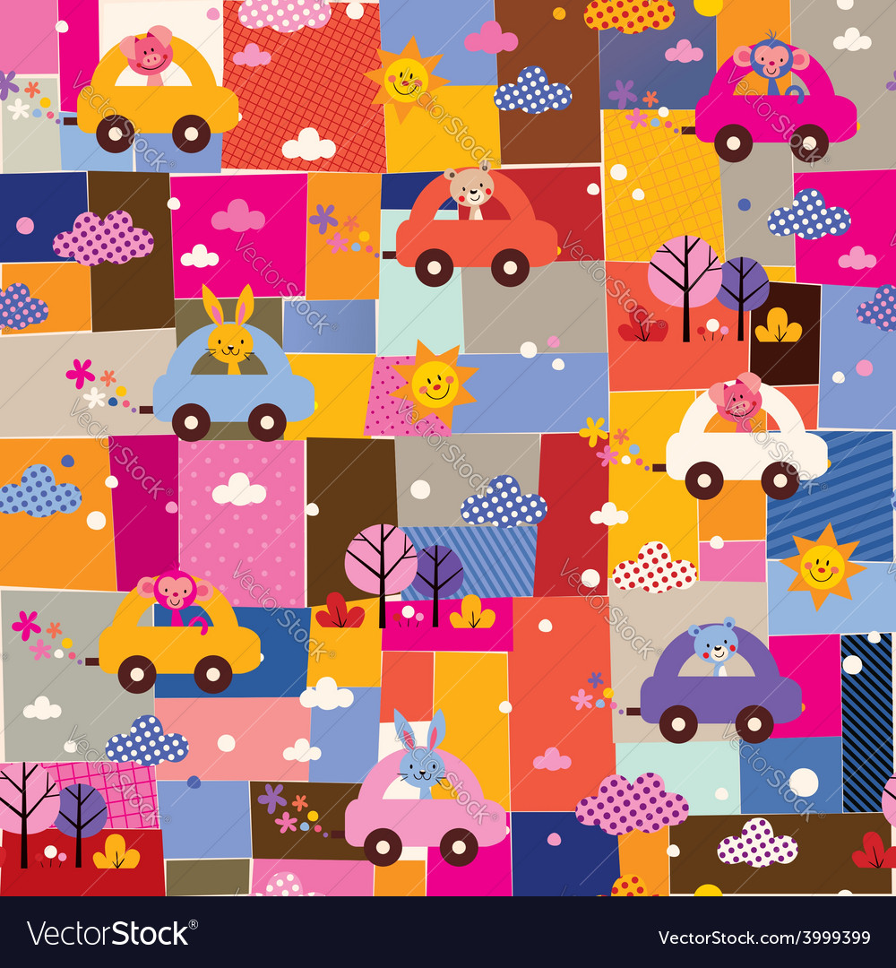Cute animals driving cars kids collage pattern vector | Price: 1 Credit (USD $1)