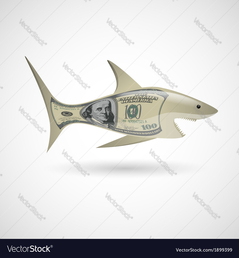 Dollar shark vector | Price: 1 Credit (USD $1)