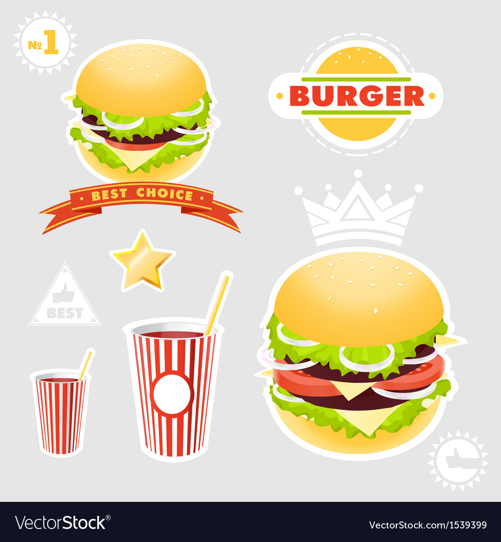 Hamburger set vector | Price: 1 Credit (USD $1)