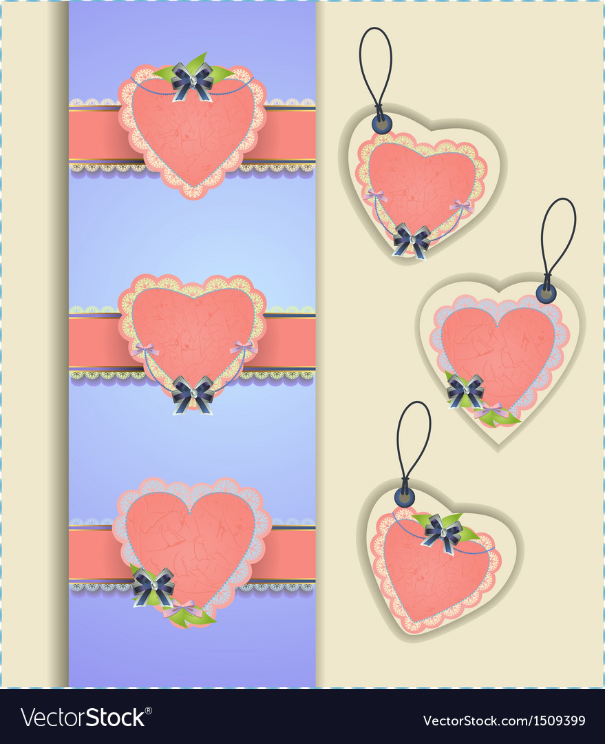 Heart labels collection vector | Price: 1 Credit (USD $1)