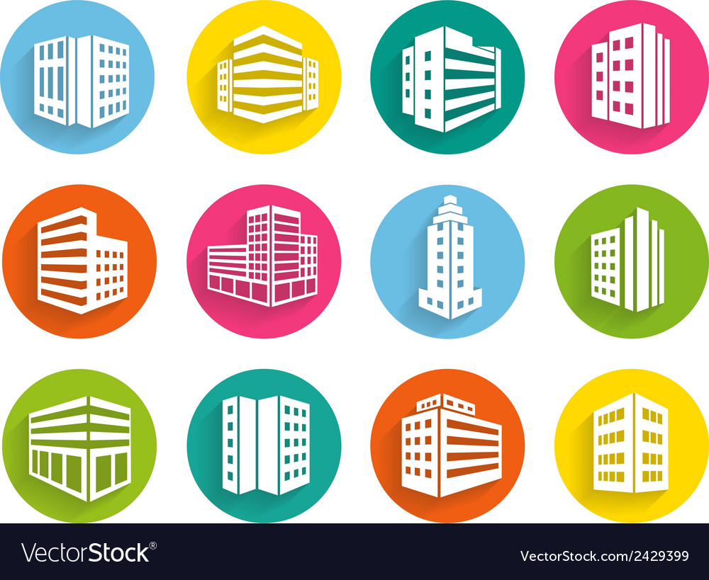 Set of buildings icons on colorful web buttons vector   Price: 1 Credit (USD $1)