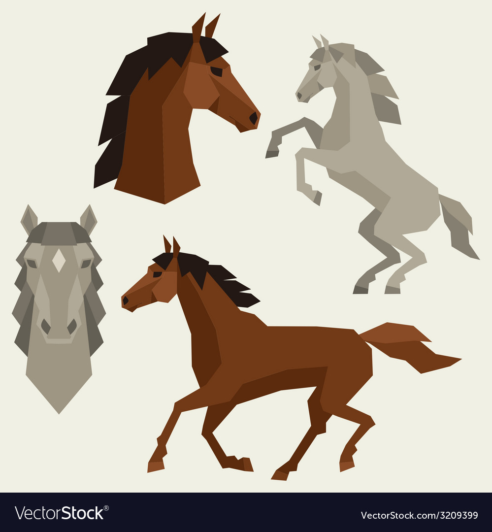 Set of horses different poses in flat style vector | Price: 1 Credit (USD $1)