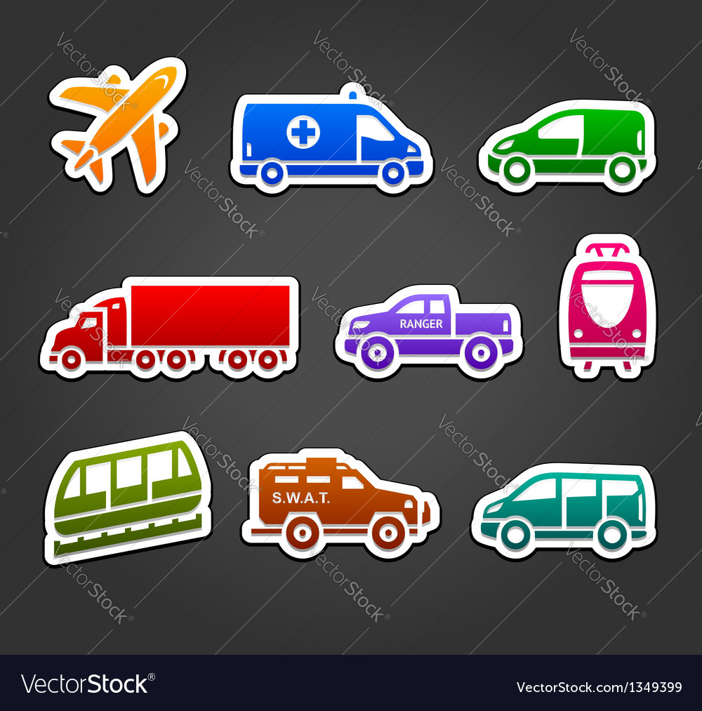 Set of stickers transport color icons vector | Price: 1 Credit (USD $1)