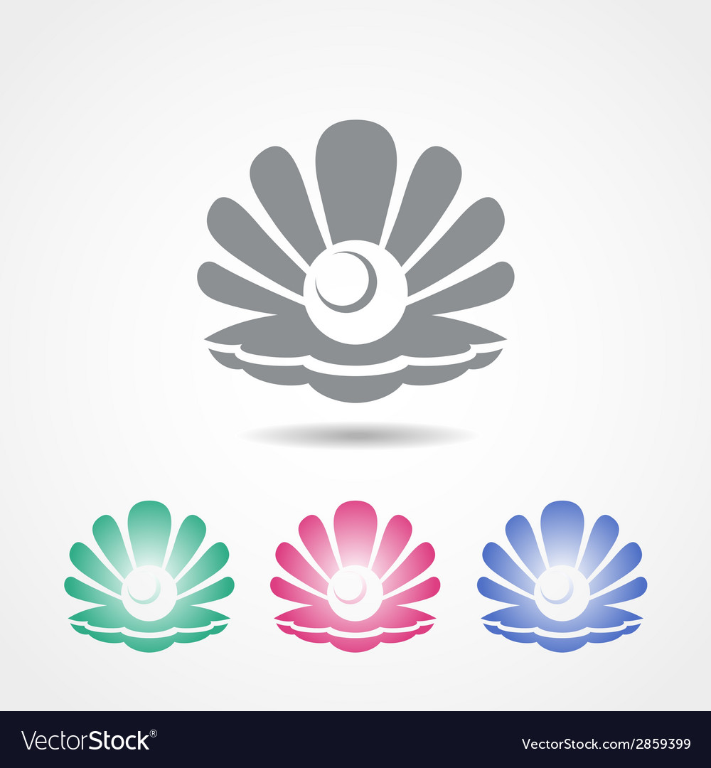 Shell icon with a pearl in different colors vector   Price: 1 Credit (USD $1)