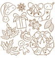 Christmas doodle icons set vector