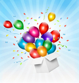 Holiday background with colorful balloons and open vector