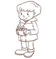 A simple sketch of a boy holding a gift vector