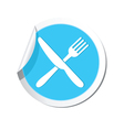 Knife and fork blue label vector