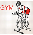 Young women on stationary bikes exercising in th vector