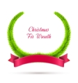 Christmas fir wreath with red ribbon isolated on vector