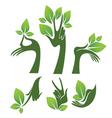 Green hands eco and beauty symbols vector