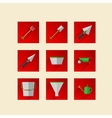 Flat icons for gardening tools vector