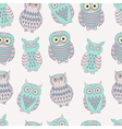 Colorful seamless pattern with cute different owls vector