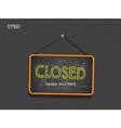 Blackboard sign closed background vector