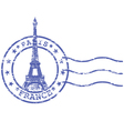 Shabby stamp with eiffel tower - sights of paris vector