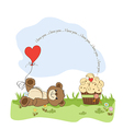 Cute love card with teddy bear vector